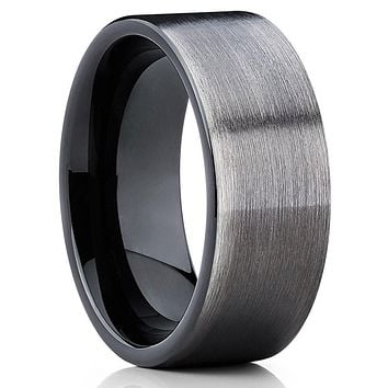 Black Cobalt Ring - Gray Wedding Band - Cobalt Chrome Ring - Men's Ring