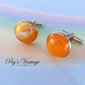 Antique/Vintage Orange/White Swirl Cuff Links/Dome Top Cufflinks, Gold Tone, Ladies Men's Jewellery Accessory