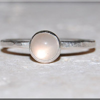 Silver Moonstone Stacking Ring, Simple Stacking Ring, Dainty Sterling Ring, Stackable Sterling Silver Ring, Silver Moonstone Stacking ring