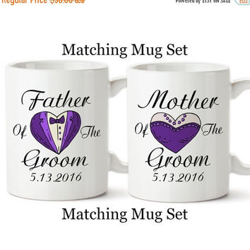 Mother Of The Groom, Father Of The Groom, Personalized Date, Parents Of The Groom, Tuxedo, Gifts, Set Of Matching Mugs, Coffee Cup