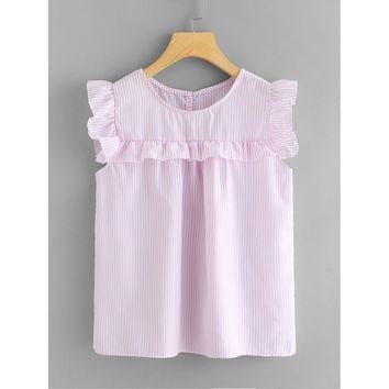 Ruffle Sleeve Vertical Stripe Babydoll Top