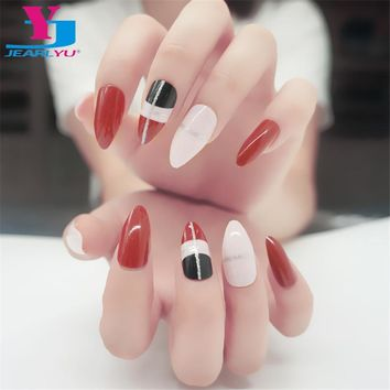 24pcs stiletto 1Set False Nails Retro Ongle Artificial Nail Tips ABS Full Cover Fake Nails With Designs Unhas SalonHigh Quality