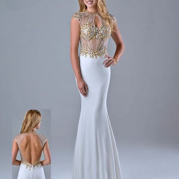 KC131501 Sheer Cap Sleeve Jeweled Prom Pageant Dress by Kari Chang Couture