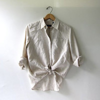 vintage linen shirt. knot button down shirt. natural beige minimalist shirt