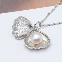 """Women Fashion Pearl Pendant 925 Silver Pearl Jewelry,Natural Freshwater Pearl Choker Pendant Necklace with 18"""" Link Chain"""