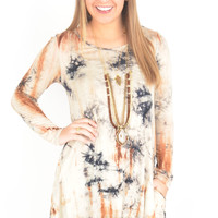 Mocha and Navy Tie Dye Dress with Circle Back Cutout