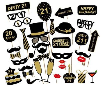 36PCS 21st Old Year Birthday Party Supply Masks Favor Photo Booth Props On Stick