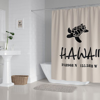 Hawaii Shower Curtain - Map coordinates and Sea Turtle Shower Curtain  Surf, beach, coastal, simple, minimalist