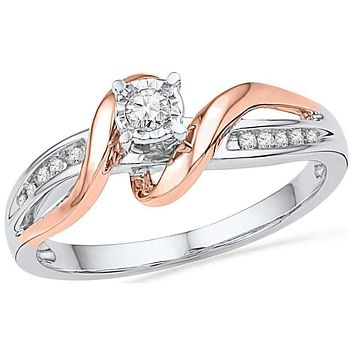 10kt White & Rose-tone Gold Women's Round Diamond Solitaire Bridal Wedding Engagement Ring 1/8 Cttw - FREE Shipping (US/CAN)