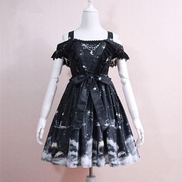 Summer Lolita dress Female Soft sister Vintage Darkness Girl Slim Slash neck dress Sweet Black Star Moon Dolphin Print dresses