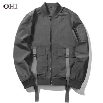 Ohi J69 Tactical Autumn Fashion Pilot Jacket V-Neck Thin Bomber Jacket Men Casual Windbreaker Streetwear Coat