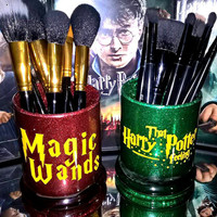 2PC set Harry Potter Magic Wands Makeup Brush Holders - YOU CUSTOMIZE!