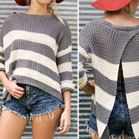 True Affection Knit Gray & Cream Striped Open Tulip Back Sweater