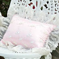 Roses and Pearls Ivory Pink Pillow