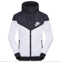 """NIKE""Fashion Hooded Zipper Cardigan Sweatshirt Jacket Coat Windbreaker Sportswear Black-white"