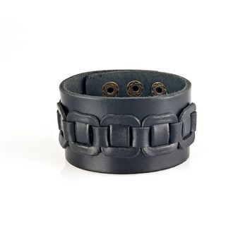 Detailed Leather Band Cuff