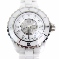 Chanel White Ceramic Diamond Dial J12 Ladies Watch