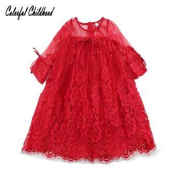 Red lace dress girls Christmas clothes flare sleeve A-line dress Baby Kids Girls Party Gown Formal Dress sweet Bowknot Dress
