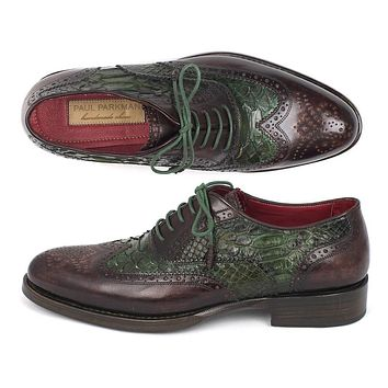 Paul Parkman Goodyear Welted Green Genuine Python & Brown Calfskin Wingtip Oxfords Shoes (ID#27PT-GRNBRW)