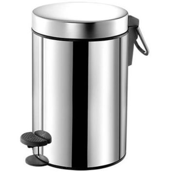 SCBA Round Stainless Steel Step Wastebasket Trash Can for Bathroom