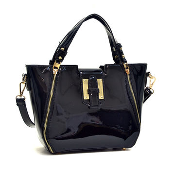 Mini Patent Faux Leather Satchel with Zipper Front Detail