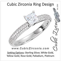 Cubic Zirconia Engagement Ring- The Quinnetta (Princess Cut Center feat. Triple Pavé Row with Kite-set Princess Bezel Peekaboos)