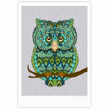 "Art Love Passion ""Great Green Owl"" Teal Gray Fine Art Gallery Print"
