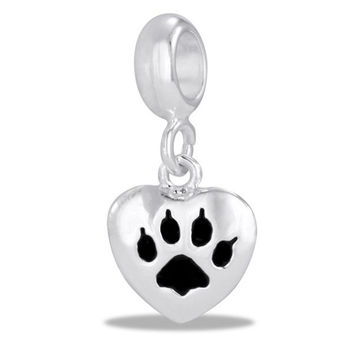 DaVinci Beads Dangle Silver And Black Heart I Love My Cat