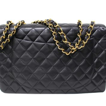 CHANEL Jumbo Classic Flap Chain Shoulder Bag Quilted Lambskin Leather Black