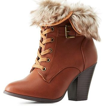 Faux Fur-Cuffed Lace-Up Booties