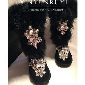 Black Fashion Rhinestone Winter Boots 2016 Slip-on Furry Shoes Woman Warm Design Snow Boots Sexy Ladies Shoes High Quality Botas