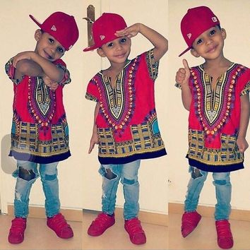 New Fashion Design Dashiki T-shirt For Boys and Girls
