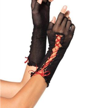 CREYI7E Lace up fishnet fingerless gloves in BLACK/RED