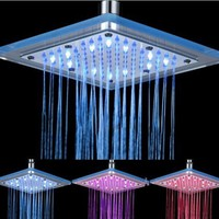 High Quality 8 Inch Square LED Rainfall Bathroom Shower Sprayer Head, Three Colors, Chrome Finish:Amazon:Home Improvement