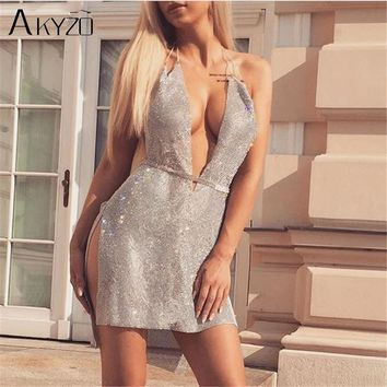 AKYZO Women Sexy Deep V Neck Shining Rhinestone Mini Dress Fashion Sequined Split Irregular Backless Nightclub Party Slip Dress