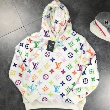 LV Fashionable Women Men Casual Louis Vuitton Rainbow Monogram Print Hooded Flannel Sweater Pullover Top Sweatshirt