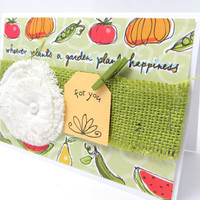 Garden Card - Planting a Garden Card - Any Occasion - Green Burlap - Blank Card - Fruits and Vegetables - Canvas Flower - Rustic Chic Style