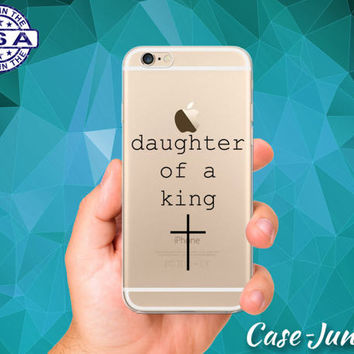 Daughter of a King Quote Christian Cross Clear Case iPhone 5 iPhone 5C iPhone 6 iPhone 6+ iPhone 6s iPhone 6s Plus iPhone SE iPhone 7 Plus