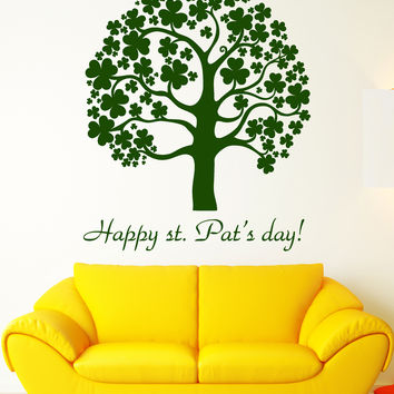 Vinyl Wall Decal Saint Patrick 's Day Clover Trefoil Tree Ireland Stickers Unique Gift (1347ig)