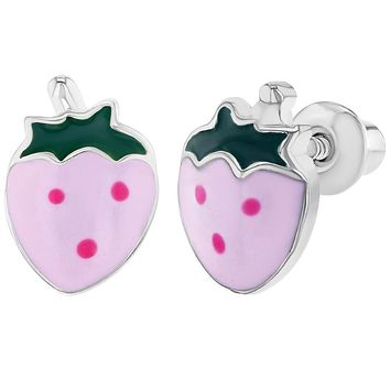 Rhodium Plated Screw Back Pink Enamel Strawberry Earrings for Girls