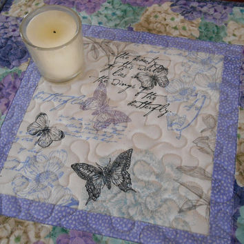 Butterfly Table Topper with Hydrangeas in Purple and Aqua Blue - Candle Mat - Quilted Table Topper - Quilted Table Mat