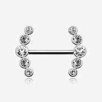 A Pair of Dainty Sparkle Ray Multi-Gem Nipple Ring