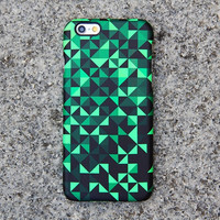 Turquoise Geometric iPhone 6 Case, Triangle Black iPhone 6 Plus Case, iPhone 5S iPhone 5C iPhone 4S Case, Samsung Galxy S5 Optical Illusion