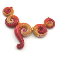 Elegant big gradient spiral beads in red, orange, yellow and white, Polymer Clay beads with unique stripes,  set of 5