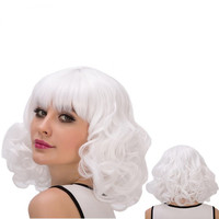 Cosplay Synthetic Faddish Short Full Bang Curly Wig