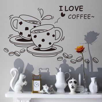 2015 free shipping modern fasion coffee cups home decal kitchen decor wedding decoration wall stickers VA8241