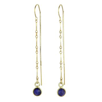 Elke Gemstone + Chain Threader Earrings in Sapphire