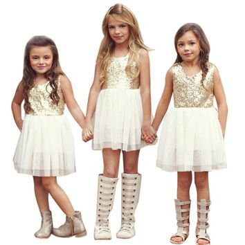 Sequins Baby Girl Dress Bow Backless Party Gown Sister Kids Bridesmaid Princess Dresses Costume For Girls 3~7T vestidos infantis