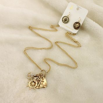 Japan and South Korea jewelry female flash drill anchor necklace gold alloy helmsman sailing sweater chain compass earrings set LJ