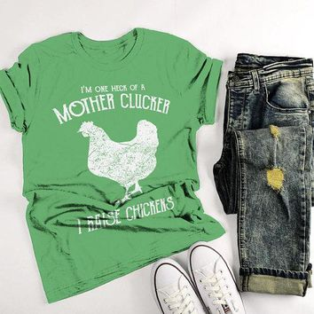 Men's Funny Chicken Farm T-Shirt Mother Clucker Vintage Chickens Raise Shirt Tee